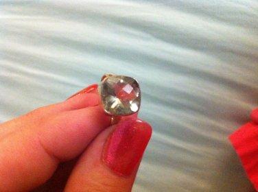 Sterling Silver .925 Huge Green Amethyst Bezel Ring 7.75