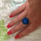 Beautiful Sterling Silver .925 Cobalt Blue Stone Ring Size 7.75 - 8
