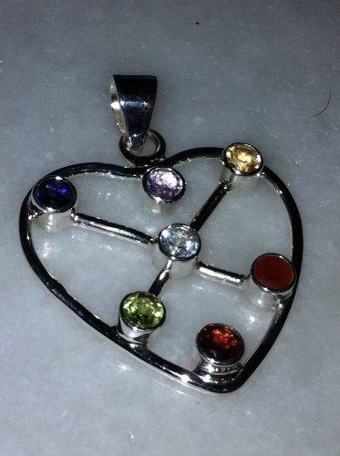 Sterling Silver .925 Multi Gem Heart Pendant Charm