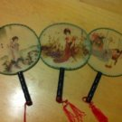 Lot of 3 Oriental Silk Small Wood Handle Geisha Girl Chinese Fans $28.99