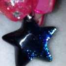 "Dichroic Glass Blue Green Star Earrings 1.25"" long New"