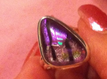 Sterling Silver .925 Dichroic Glass Purple Pink Green Black Ring Size 8 $24.99