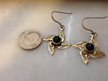 .925 Sterling Silver And Copper Black Onyx Wimdmill Bezel Set Earrings $19.99