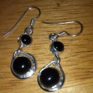 Sterling Silver .925 Black Onyx Circle Earrings $14.99