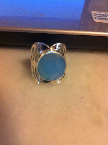 Sterling Silver .925 Bezel Set Blue Chalcedony Ring Sz 6.5 $24.99