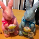 Large Set of 2 Sparkly Pink and Blue Easter Bunnies with Eggs Figures $24.99
