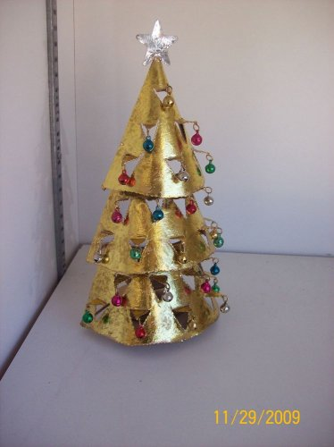 Gold Tealight Christmas Tree Candle Holder with Bells $9.99
