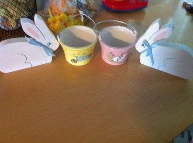 2 Wood Bunny & 2 Porcelain Pails Easter Decor $9.99