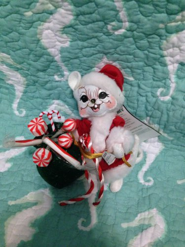 """New Annalee Mobilitee 6"""" Mr. Santa Mouse Candy Canes & Peppermints 2005 $34.99"""