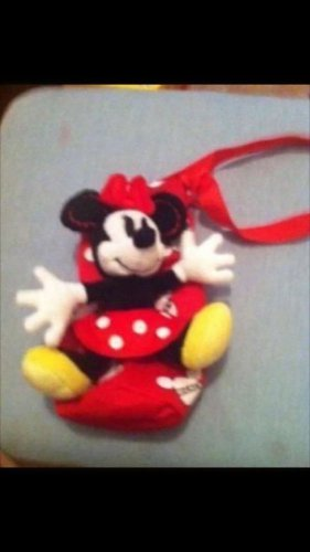 Minnie Mouse Plush Stuffed Animal Water Bottle Holder  Lined Insulated Interior $12.99