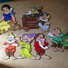 Disney Handpainted Set of 4 Snowwhite & the Seven Dwarfs Wood Wall Plaques Mura $275.00