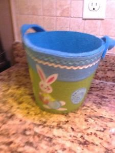 "Felt Peter Cotton Tail Easter Bunny Bucket Pail 7"" x 9"" $8.99"