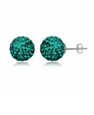 Blue-Zircon Sterling Silver Studs with Swarovski Crystals