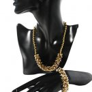 Gold Jewellery Set with Sterling Silver and Sparkling Crystals
