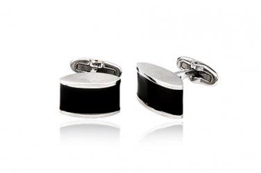 Eloquent Black Rectangular Stainless Steel Cufflinks