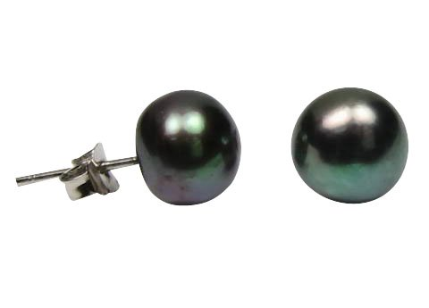 Black Exquisite Freshtwater Pearl Sterling Silver Studs Pearl Size 9-10mm