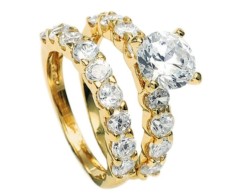 18KT Gold Filled 2.04ct AAA+ Grade Simulated Diamond Engagement/Wedding Ring Set Size 6(M)