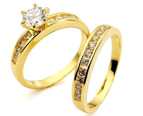 18KT Gold Filled AAA+ grade Simulated Diamond Wedding/Engagement Ring Set  Size 7(O)