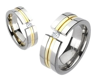 Titanium His/Hers 14K Gold IP Simulated Diamond Engagement/Wedding Band Size 5(J)