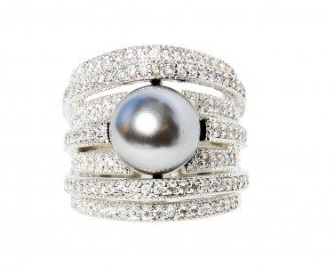 Smoky-Quartz Pearl Cocktail Ring Size 8.5(R)