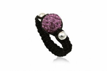Purple 925 Sterling Silver Crystal Ball Ring Size 7(O)