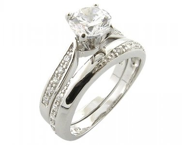 Platinum-Look 925 Sterling Silver 0.76ct Simulated Diamond Engagement/Wedding Ring Set Size 9(S)