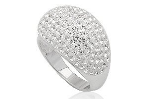 Dome Shaped Ring made with White Swarovski Crystals Size 6(M)