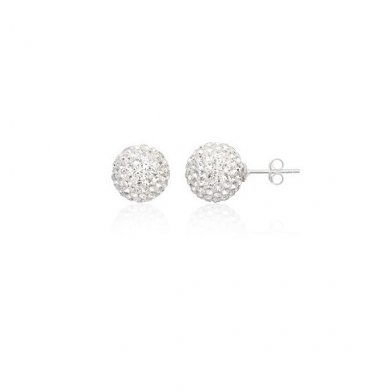 White Sterling Silver 8mm Stud Earrings with Swarovski Crystals