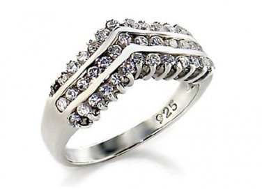 Exquisite Sterling Silver Diamond Simulated Bridal Ring, 8.5(R)