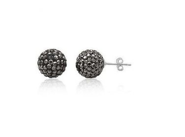 Stunning 12mm Hematite Sterling Silver Studs with Swarovski Crystals