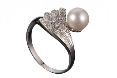 White Akoya Pearl Sterling Silver Ring, Size 7(O)