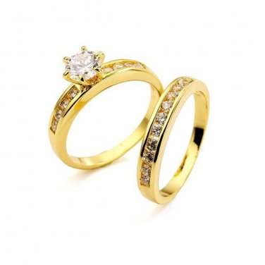 18KT Gold Filled AAA+ grade Simulated Diamond Wedding/Engagement Ring Set Size 10(U)