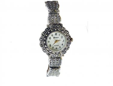 Exquisite Marcasite Gemstone Bracelet Watch