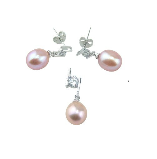 925 Sterling Silver 8 - 8.5 mm Cultured Freshwater Lavender Pearl Set