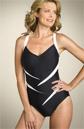 New Carol Wior ZORRO SPLICE Slimsuit Swimsuit One Piece Size 8