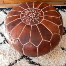 MOROCCAN LEATHER POUF :natural dark brown tan