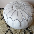 MOROCCAN LEATHER POUF : white whith grey stitching
