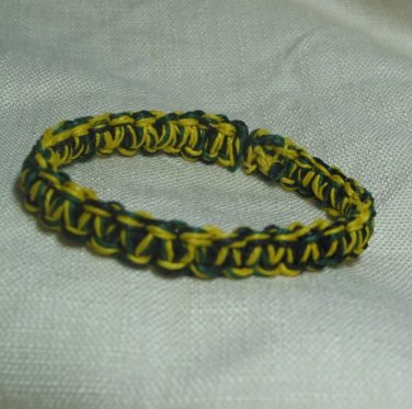 Green Yellow and Black Hemp Bracelet with Elastic Core Handmade in the USA