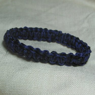 Purple and Black 7 inch Hemp Bracelet with Elastic Core Handmade in the USA