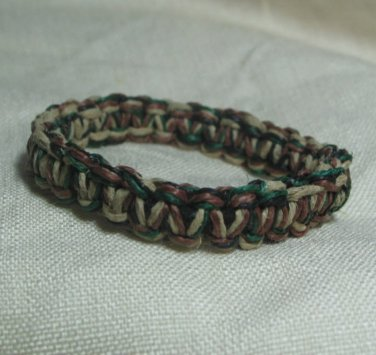 Natural Green Brown and Black Hemp Bracelet with Elastic Core Handmade in the USA