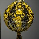 Black and Yellow Knotted Hemp Glass Christmas Ornament Handmade
