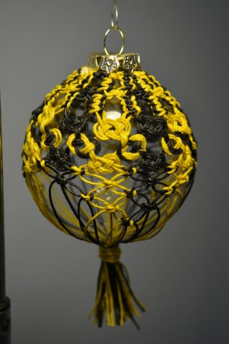 Black and Yellow Knotted Hemp Glass Christmas Ornament Handmade