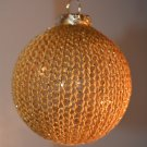 Gold Hand Knit Glass Christmas Ornament