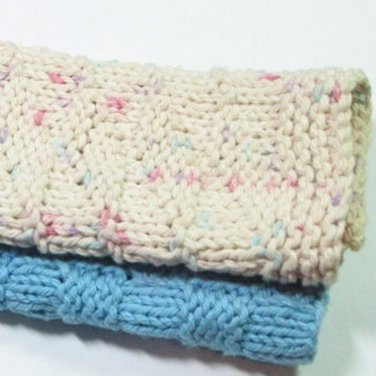 Hand Knitted Dish Cloth 2 pack Blue and Cream