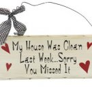 Wooden Plaque Clean House