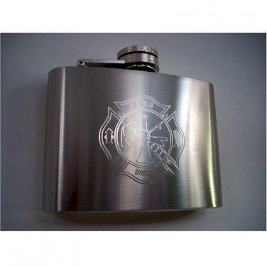 4oz Firefighter Engraved Flask