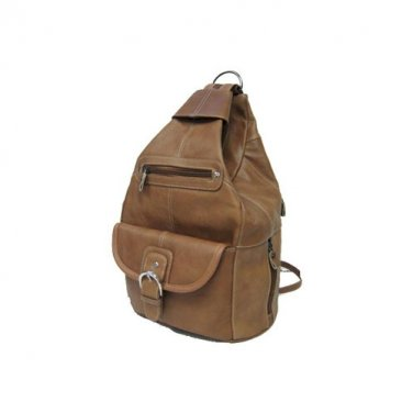 Light Brown Leather Backpack / Purse