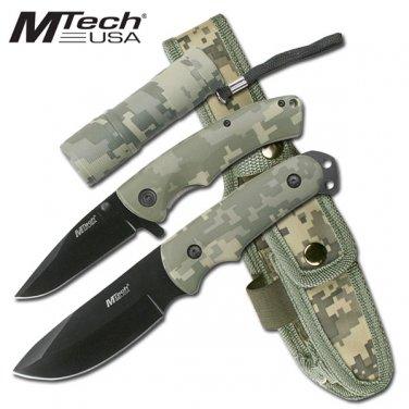3pc Camo Knife and Flashlight Set