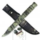 Camo Survival Knife with Nylon Case