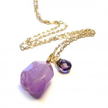 Handmade Purple Nugget Amethyst Gemstone Pendant Gold Tone Necklace